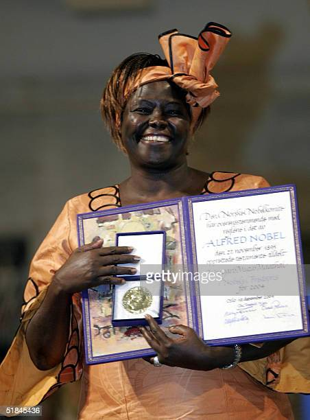Kenyan ecologist Wangari Maathai poses after receiving the 2004 Nobel Peace Prize at a ceremony 10 December 2004 in Oslo Maathai becomes the first...