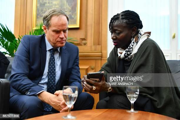 Kenyan Germanist author sociologist and halfsister of former US president Auma Obama and Heidelberg's mayor Eckart Wuerzner talk in Heidelberg...