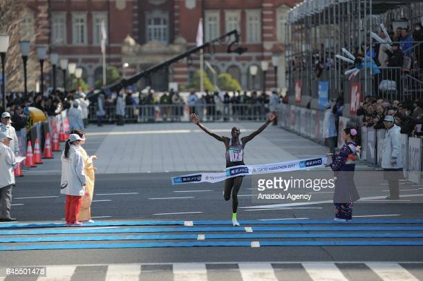 Kenyan Gideon Kipketter wins the second place of the Men Elite of the Tokyo Marathon 2017 in Tokyo Japan on February 26 2017