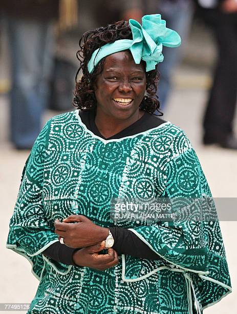 Kenyan gree advocate Wangari Maathai poses upon her arrival at the Elysee palace 25 October 2007 in Paris on the last day of 'Grenelle de...