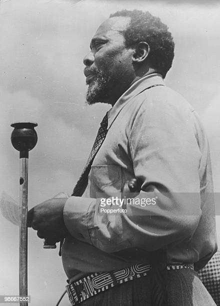 Kenyan independence leader Jomo Kenyatta giving a speech circa 1960 He later became Prime Minister and then President of Kenya