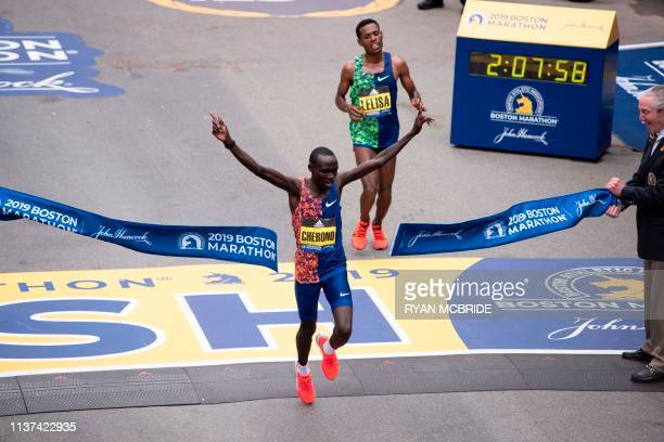 Kenyan Lawrence Cherono edges Ethopian Lelisa Desisa for first place for the Men's Elite race at the 123rd Boston Marathon on April 15 2019 in Boston...