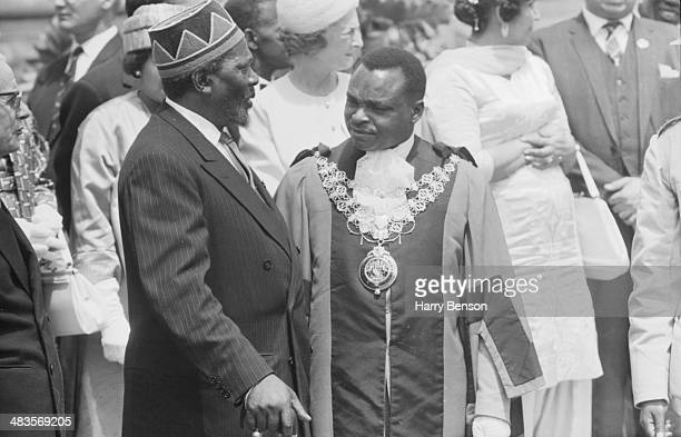 Kenyan leader Jomo Kenyatta and politician Tom Mboya during a celebration of Kenyan Independence 1963