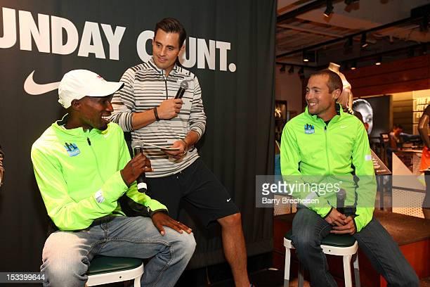 Kenyan long distance runner Wesley Korir Bill Rancic and American longdistance runner Dathan Ritzenhein attend the Nike Run Club event at Nike...