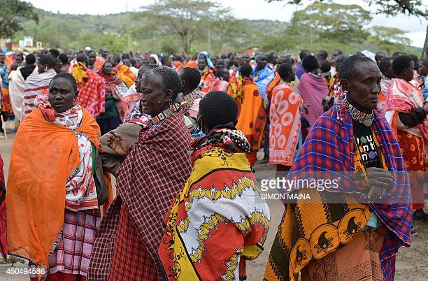 Kenyan Maasai women gather during a meeting dedicated to the practice of female genital mutilation in which several participants voiced opposition to...