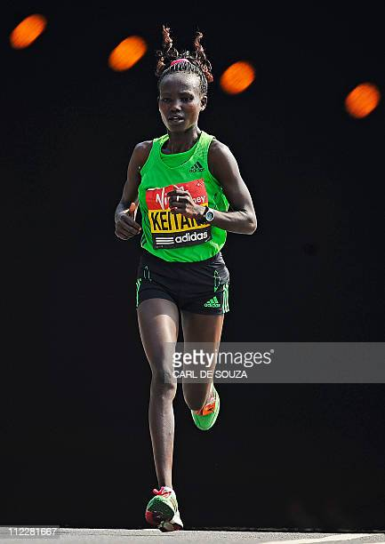 Kenyan Mary Keitany competes in the 2011 London marathon on April 17 2011 Mary Keitany of Kenya won the women's London Marathon in a time of 21918...