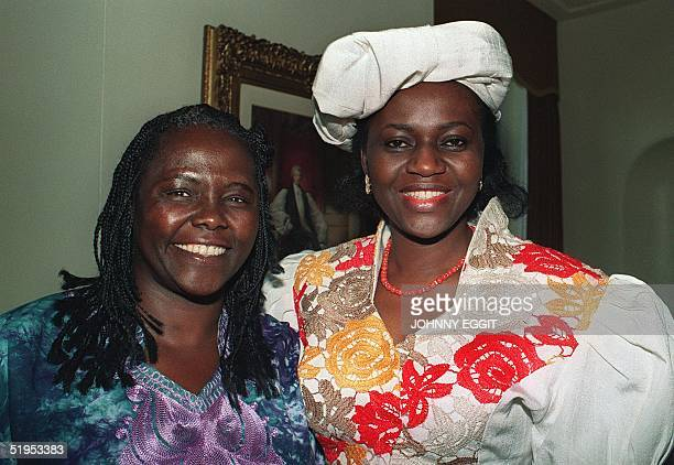 Kenyan militant ecologist Wangari Maathai and Maryam Ibrahim Babangida of Nigeria pose for a photograph at a reception in London, 19 September 1991,...