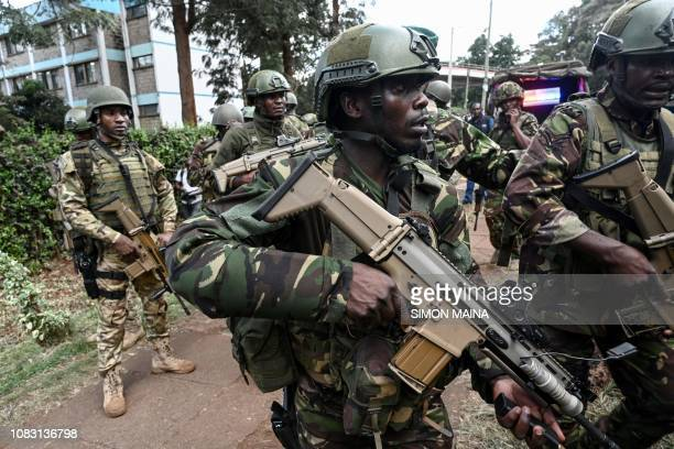 Kenyan militaries arrive at the scene of an explosion at a hotel complex in Nairobi on January 15 2019 A blast at the DusitD2 compound which includes...
