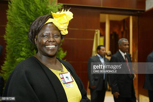 Kenyan Nobel laureate an environmentalistturnedpolitician Wangari Maathai arrives to the morning assembly on the second and final day of the African...