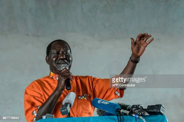 Kenyan opposition leader Raila Odinga addresses worshipper in Kawangware at a Sunday's service at the Gatina Church on October 29 2017 Kenya was...