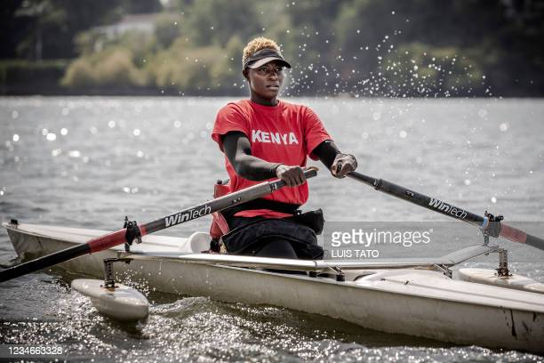 Kenyan para-rower athlete Asiya Mohammed rows a boat during her training session in Mombasa, Kenya on July 26, 2021 ahead of the preparations for the...