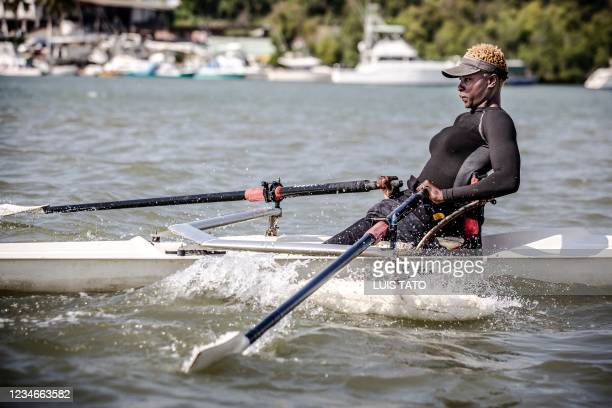 Kenyan para-rower athlete Asiya Mohammed rows a boat during her training session in Mombasa, Kenya on July 27, 2021 ahead of the preparations for the...