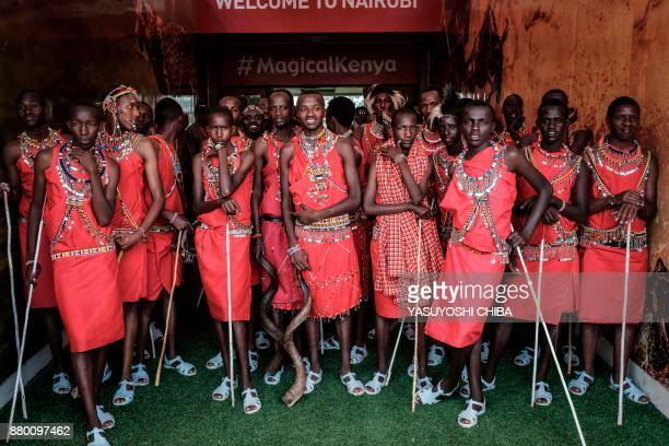 TOPSHOT Kenyan performers of Maasai tribe wait during the rehearsal of the inauguration ceremony of the President at the Moi International Sports...