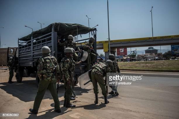 Kenyan Police arrives to break up a protest from Opposition leader Raila Odinga supporters at Kondele August 9, 2017 in Kisumu, Kenya. Riot police...