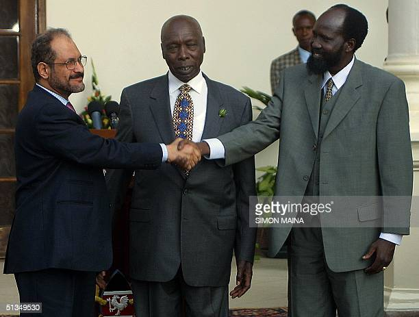 Kenyan President Daniel arap Moi chairman of the regional sevennation InterGovernmental Authority on Development which is mediating the Sudanese...