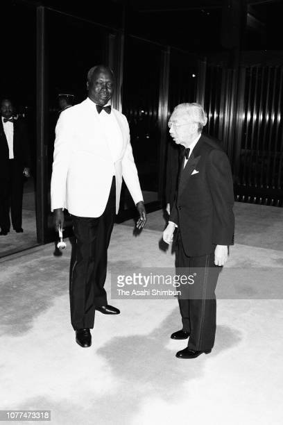 Kenyan President Daniel arap Moi is welcomed by Emperor Hirohito prior to the state dinner at the Imperial Palace on April 6 1982 in Tokyo Japan