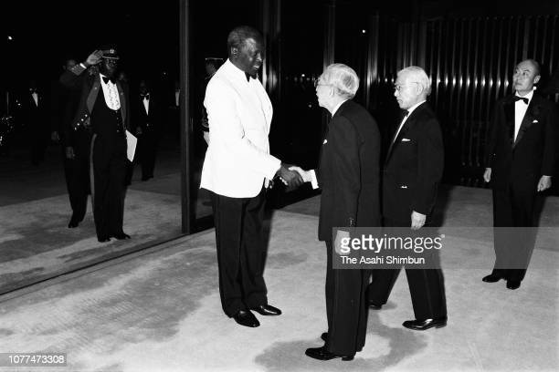 Kenyan President Daniel arap Moi shakes hands with Emperor Hirohito prior to the state dinner at the Imperial Palace on April 6 1982 in Tokyo Japan