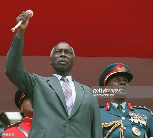 Kenyan President Daniel arap Moi stands with his chiefofstaff General Mohammed at a rally 10 October to mark the Kenyan leader's 17 years in power at...