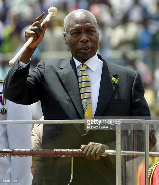 Kenyan president Daniel Arap Moi waves to the crowd while he enters in the National Stadium to celebrates Moi's day in Nairobi Kenya 10 October 2001...