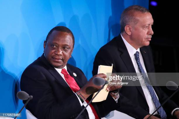 Kenyan President Uhuru Kenyatta and Turkish Prime Minister Recep Tayyip Erdogan attend the United Nations summit on climate change September 23, 2019...