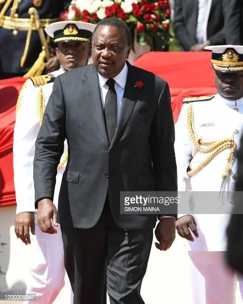 Kenyan President Uhuru Kenyatta arrives for the funeral service of former Kenya President Daniel Arap Moi in Nairobi on February 11 2020 Moi whose...