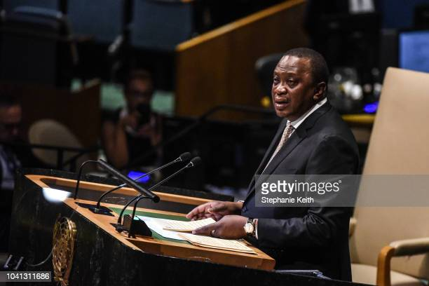 Kenyan President Uhuru Kenyatta delivers a speech at the United Nations General Assembly on September 26 2018 in New York City World leaders are...