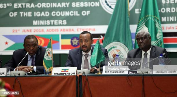 Kenyan President Uhuru Kenyatta Ethiopian Prime Minister Abiy Ahmed and African Union Commission Chairperson Moussa Faki Mahamat attend the meeting...