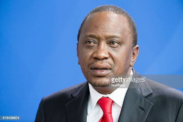 Kenyan President Uhuru Kenyatta is pictured during a news conference held with German Chancellor Angela Merkel at the Chancellery on April 6 2016 in...