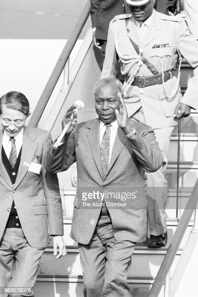 Kenyan Presidetn Daniel arap Moi is seen on arrival ahead of the Funeral of late Emperor Hirohito at Haneda Airport on February 23 1989 in Tokyo Japan