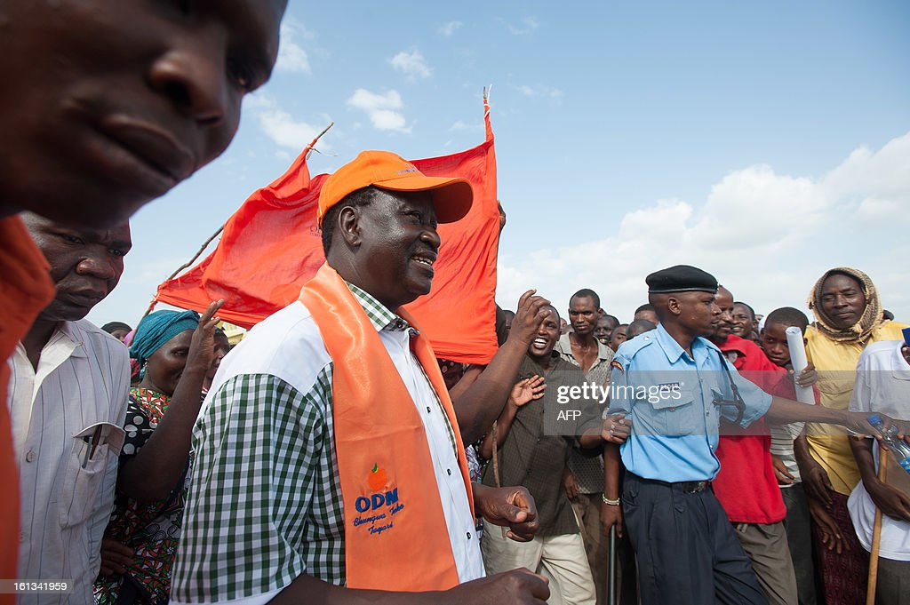 Kenyan Prime Minister Raila Odinga speaks at a CORD Coalition rally in Garsen town, Tana River region, on February 8, 2013 part of campaigning for the upcoming presidential, parliamentary and local elections on March 4. The risk of political violence in Kenya is 'perilously high' ahead of next month's election, the first since bloody post-poll violence five years ago, Human Rights Watch (HRW) warned. AFP PHOTO/Will Boase