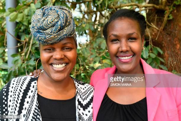 Kenyan publisher Angela Wachuka and author Wanjiru Koinange pose for a photo on August 2 2018 in Nairobi Despite its dilapidated state a handful of...