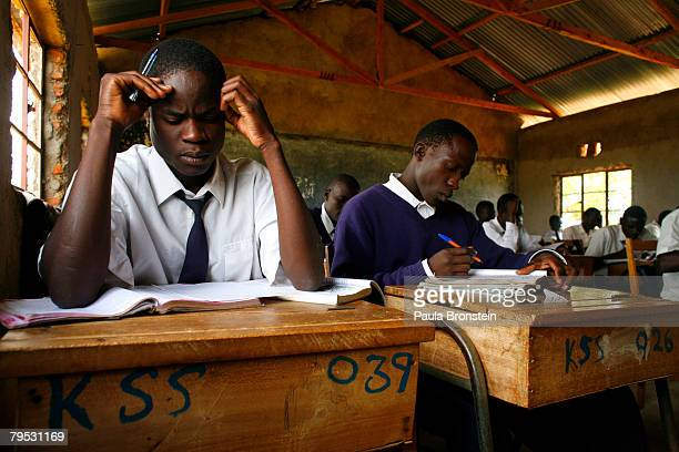 Kenyan school students study in class at The Senator Obama Kogelo Secondary School on February 5 2008 in Kogelo Kenya The school was funded by US...