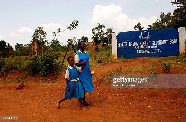 Kenyan school students walk to school the Senator Obama Kogelo Secondary school on February 5 2008 in Kogelo Kenya The school was funded by US...