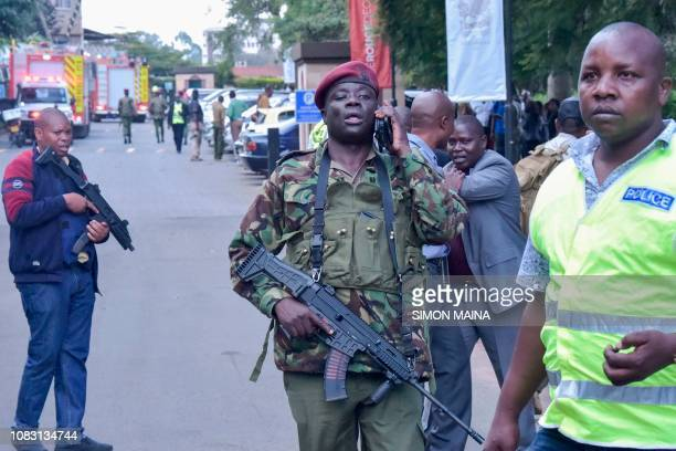 Kenyan security forces arrive at the scene of an explosion at a hotel complex in Nairobi on January 15 2019 A blast at the DusitD2 compound which...