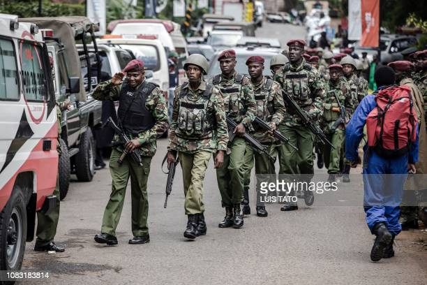 Kenyan Security Forces arrive to the scene of an on going terrorist attack at a hotel complex in Nairobi's Westlands suburb on January 16 2019...