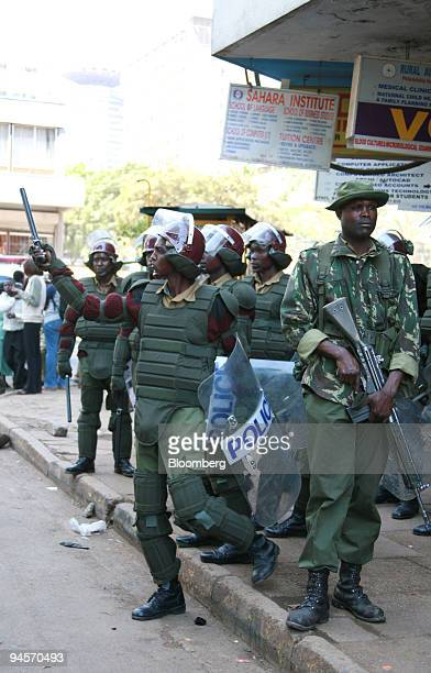 Kenyan security forces on patrol in Nairobi Kenya on Tuesday Jan 22 2008 Violence in Kenya since last month's disputed election has resulted in...
