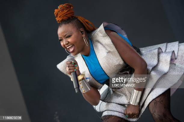 Kenyan singer Muthoni Drummer Queen performs during the Vieilles Charrues music festival on July 20, 2019 in Carhaix-Plouger, western France.