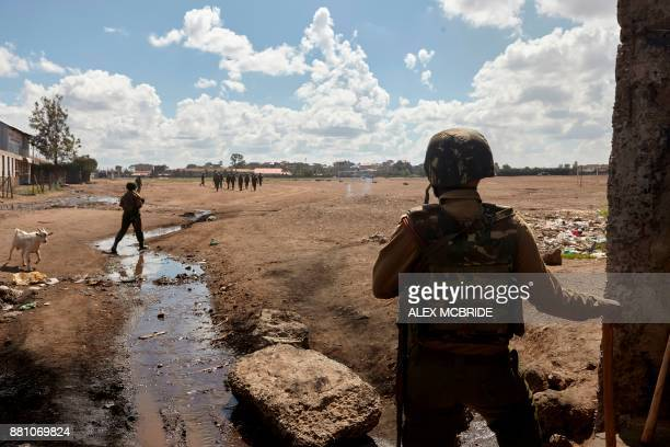 Kenyan soldiers patrol at Jacaranda Ground in Nairobi on November 28 where Kenya's opposition party National Super Alliance leader was meant to be...
