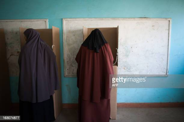 Kenyan Somali ladies mark their ballot cards in the Eastleigh district of the Kenyan capital Nairobi on March 4 2013 during the nationwide elections...
