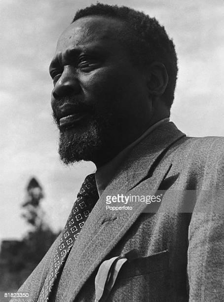 Kenyan statesman and former president of the Kenya African Union Jomo Kenyatta around the time of his exile in the Lodwar region of northwest Kenya...