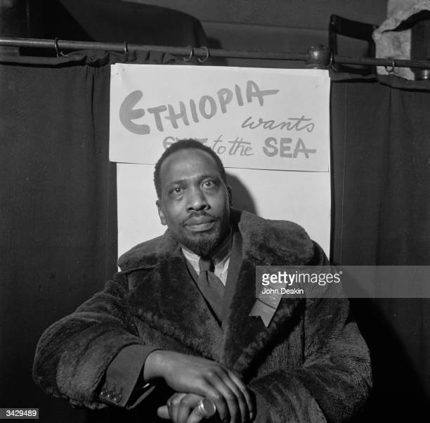Kenyan statesman Jomo Kenyatta attends the Fifth PanAfrican Congress Manchester 15th 21st October 1945 After a spell in prison for his alleged...