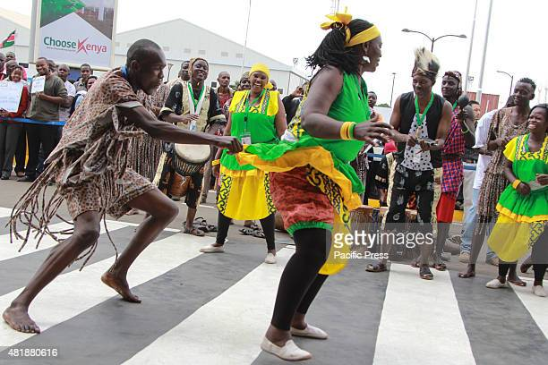 Kenyan Traditonal Dancers from Boma Group Enterntains Guest as they arrive at Jomo Kenyatta International Airport before the arrival of US president...