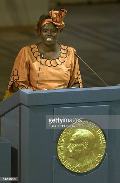 Kenyan tree planter and 2004 Nobel peace prize laureate Wangari Maathai delivers a speech 10 December 2004 at the Oslo City Hall after receiving her...