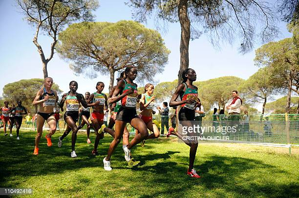 Kenyan Vivian Jepkemoi Cheruiyot competes during the women's senior race of the World Cross Country Championships at Punta Umbria on March 20 2011...