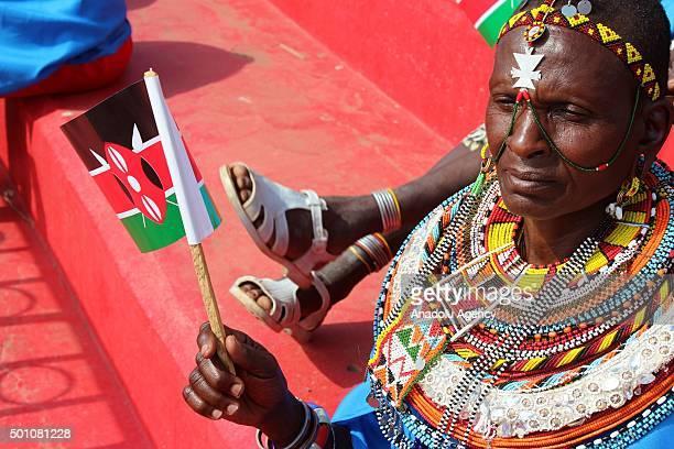 Kenyan woman is seen during the celebrations of Jamhuri Day at Nyayo National Stadium in Nairobi Kenya on December 12 2015 Jamhuri Day is celebrated...