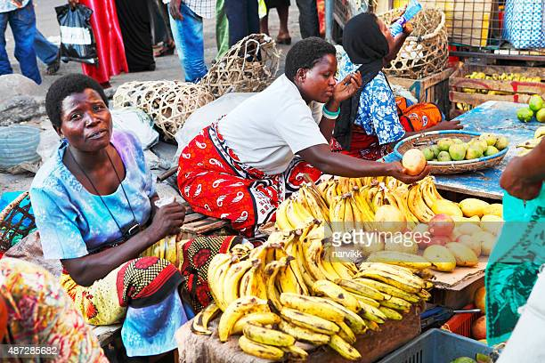 kenyan women on the market in mombasa - mombasa stock photos and pictures