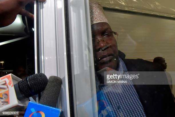 Kenyanborn Canadian lawyer and selfdeclared National Resistance Movement General Miguna Miguna listens to journalists' questions at the Jomo Kenyatta...
