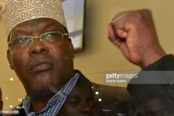 Kenyanborn Canadian lawyer and selfdeclared National Resistance Movement General Miguna Miguna gestures as he speaks to journalists at the Jomo...