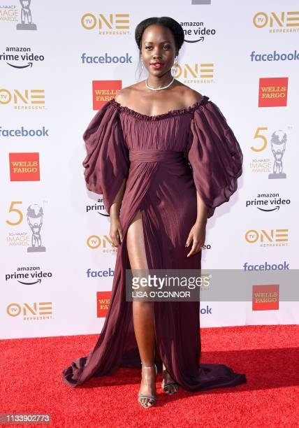 Kenyan/Mexican actress Lupita Nyong'o arrives for the 50th NAACP Image awards at the Dolby theatre on March 30 2019 in Los Angeles