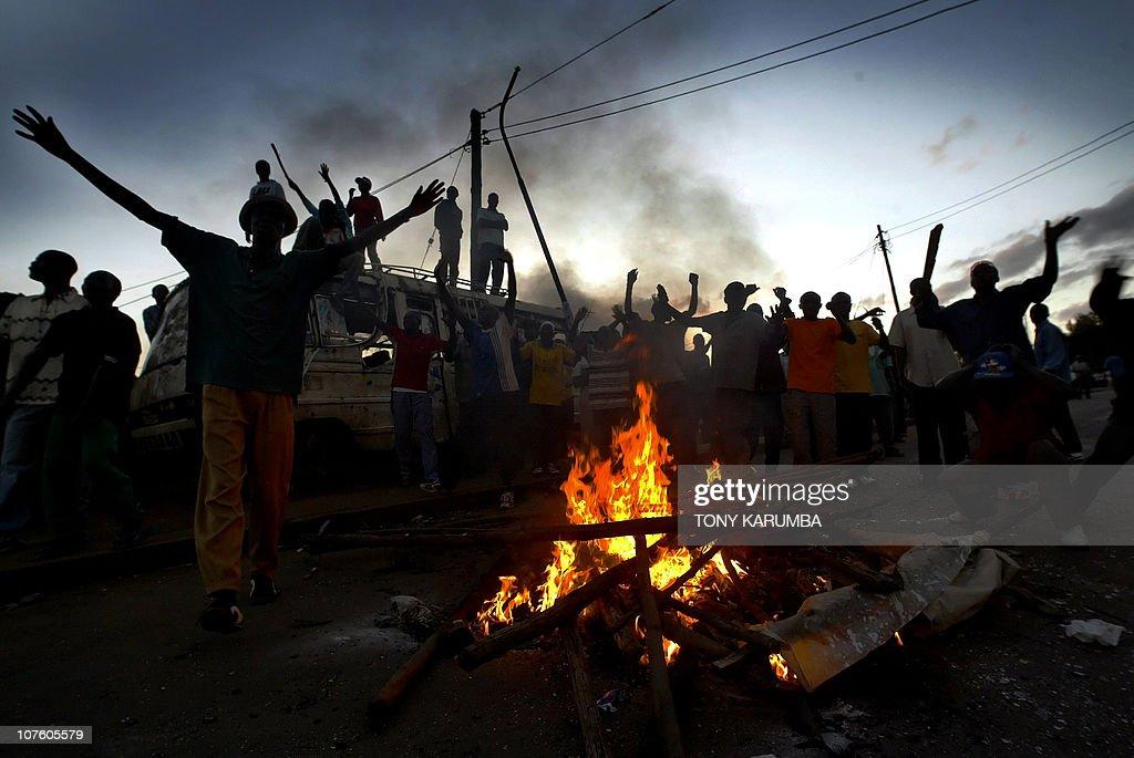 Kenyans demonstrate 30, December 2007 at : News Photo